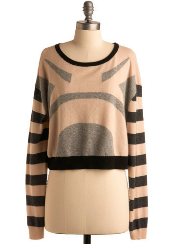 Geometric Treat Sweater - Pink, Multi, Black, Grey, Stripes, Knitted, Casual, Long Sleeve, Fall, Winter, Short