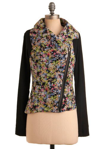 Rev Up the Roses Jacket - Multi, Orange, Green, Blue, Pink, White, Floral, Exposed zipper, Casual, Long Sleeve, Spring, Fall, Mid-length, Black, 1