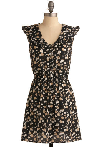 Elephant in the Bloom Dress - Black, Tan / Cream, White, Floral, Casual, A-line, Cap Sleeves, Spring, Summer, Short