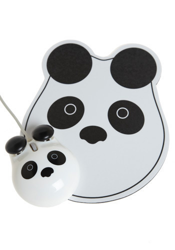 Panda Points Mouse and Pad Set - Black, White, Dorm Decor