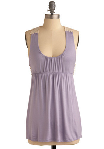 Lavender Confetti Tank - Purple, Tan / Cream, Crochet, Sleeveless, Long