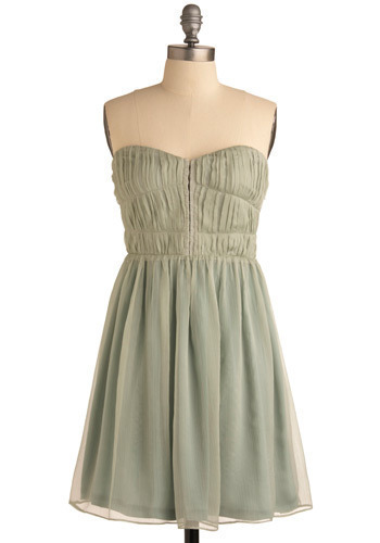 What I Really Mint Dress - Green, Solid, Pleats, Wedding, Party, Empire, Strapless, Mid-length