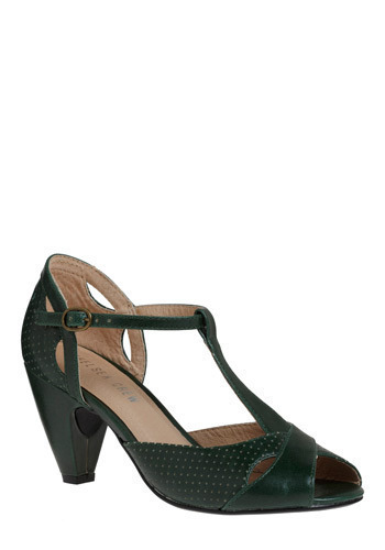 Hot for Hemlock Heel by Chelsea Crew - Green, Mid, Leather, Better, Peep Toe, T-Strap