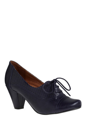 Right Here Heel in Navy by Chelsea Crew - Blue, Party, Work, Casual, Vintage Inspired, 20s, 30s, Variation, 60s