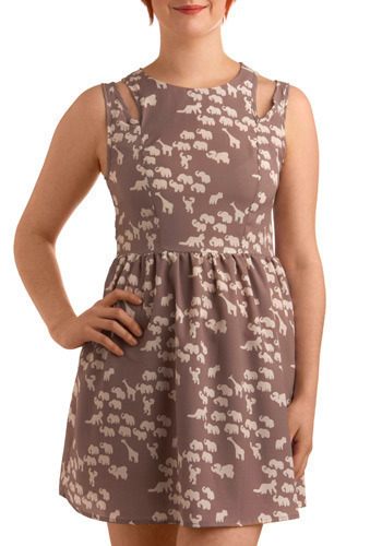 We've Come Safari Dress - Brown, Tan / Cream, Print with Animals, Novelty Print, Cutout, Pleats, Casual, Safari, A-line, Sleeveless, Short