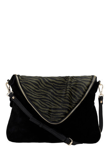 Act On Instinct Shoulder Bag - Black, Green, Animal Print, Exposed zipper, Casual, Luxe