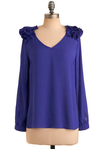 Perched to Please Top - Purple, Solid, Ruffles, Party, Casual, Long Sleeve, Mid-length