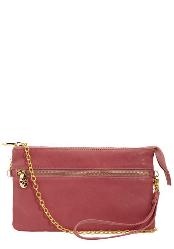 Mod in Mauve Clutch - Pink, Gold, Solid, Chain, Exposed zipper, Casual
