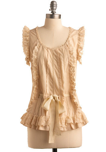 Angel Face Top by Ryu - Cream, Solid, Lace, Pleats, Trim, Formal, Sleeveless, Mid-length
