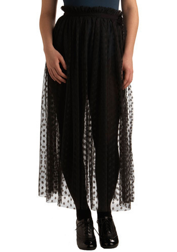 Sheer Versatility Skirt - Black, Polka Dots, Lace, Casual, Boho, Vintage Inspired, 70s, Maxi, Spring, Summer, Long, Press Placement