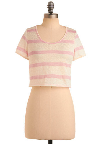 Kickflip Cutie Top - Cream, Pink, Stripes, Floral, Casual, Short Sleeves, Short