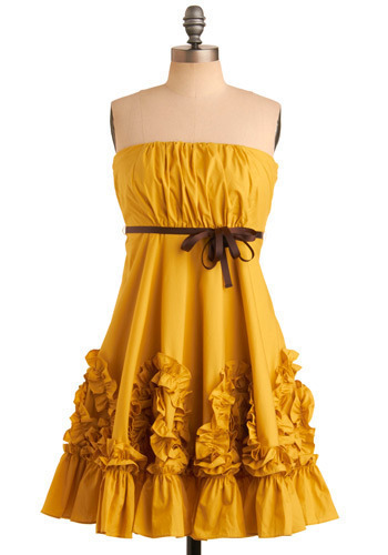Yellow, Gorgeous! Dress by Ryu - Yellow, Solid, Pleats, Ruffles, Casual, Empire, Strapless, Spring, Summer, Mid-length