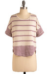 Hype Over Stripes Top by Jack by BB Dakota - Cream, Purple, Stripes, Casual, Urban, Short Sleeves, Mid-length