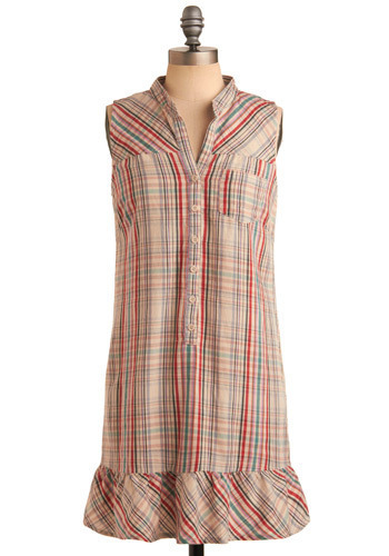Plaid-eline Dress by Jack by BB Dakota - Multi, Red, Orange, Green, Blue, Pink, Grey, Plaid, Buttons, Pockets, Ruffles, Casual, Sheath / Shift, Sleeveless, Summer, Mid-length