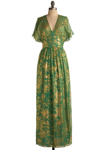 Gilded Emerald Dress by Traffic People - Green, Gold, Print, Maxi, Short Sleeves, Long, Formal, Prom
