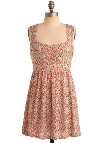 Rosette-à-Porter Dress - Orange, Cream, Floral, Cutout, Casual, A-line, Tank top (2 thick straps), Spring, Summer, Short