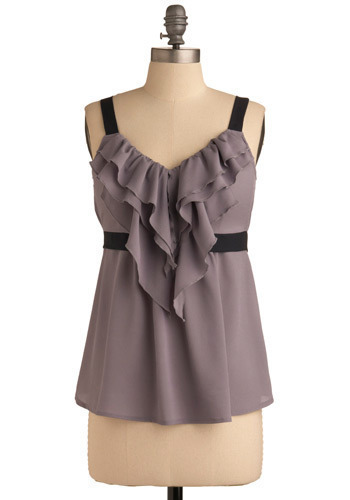 Fog at Dusk Top - Grey, Black, Solid, Bows, Ruffles, Tiered, Trim, Party, Casual, Empire, Tank top (2 thick straps), Spring, Summer, Mid-length