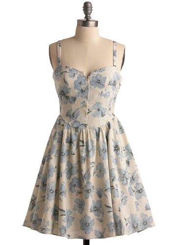 Orlando Blooms Dress - Cream, Blue, Floral, Buttons, Cutout, Casual, A-line, Spaghetti Straps, Spring, Summer, Mid-length