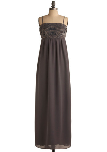 Alexandra the Great Dress - Grey, Multi, Solid, Embroidery, Party, Empire, Maxi, Spaghetti Straps, Spring, Summer, Long