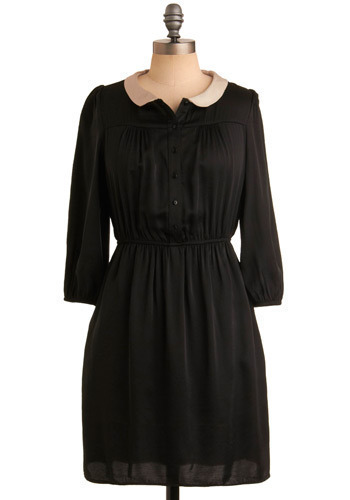 Remarkable Insight Dress - Black, Solid, Casual, Shirt Dress, 3/4 Sleeve, Mid-length