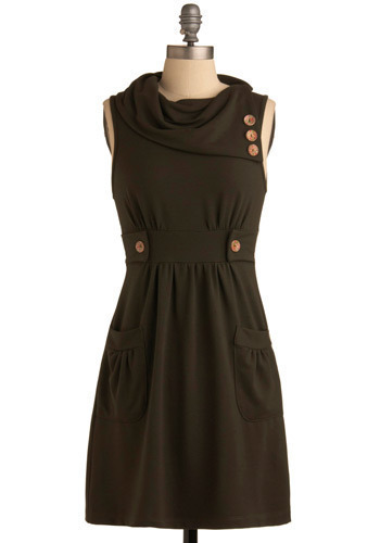 Streetcar Tour Dress in Olive - Green, Solid, Buttons, Casual, A-line, Sleeveless, Short