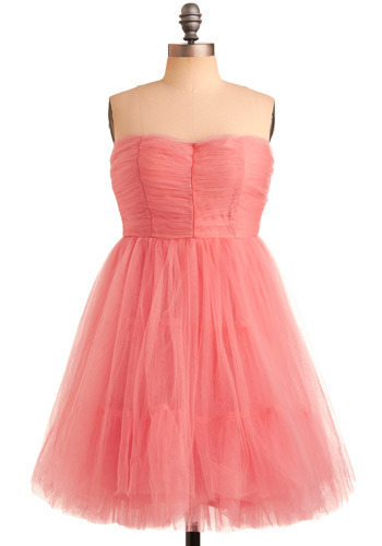Dancing in a Daydream Dress - Pink, Solid, Formal, Prom, Wedding, Party, Ballerina / Tutu, Empire, Strapless, Mid-length