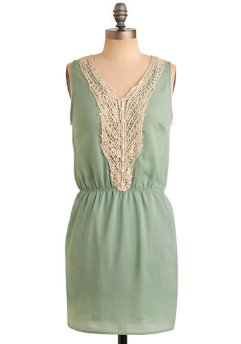 Ipso Facto Dress - Green, Tan / Cream, Buttons, Lace, Pearls, Wedding, Party, Casual, Sheath / Shift, Sleeveless, Short