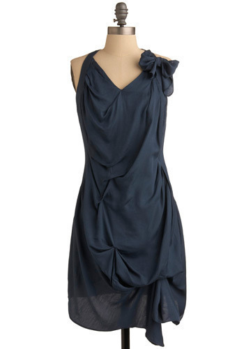 Tumwater Falls Dress - Blue, Solid, Bows, Wedding, Party, Casual, Luxe, Sheath / Shift, Halter, Long