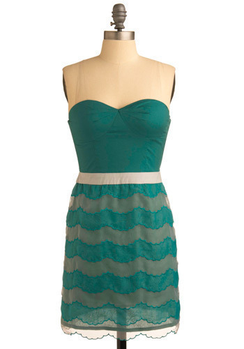 Hear the Ocean Dress - Green, Print, Party, Casual, Sheath / Shift, Sleeveless, Short