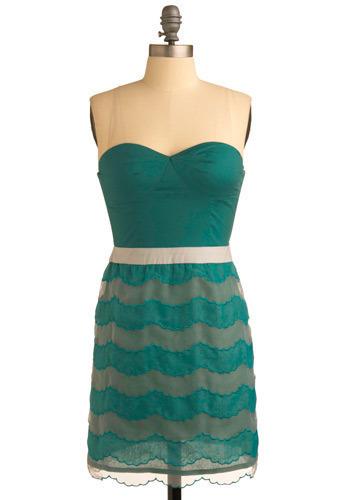 Hear the Ocean Dress - Green, Print, Party, Casual, Shift, Sleeveless, Short