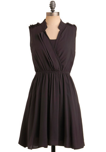 Swatch Out Dress - Black, Solid, Casual, A-line, Sleeveless, Mid-length