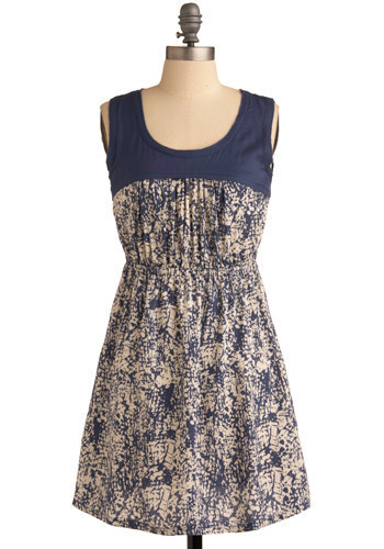 Take Your Pat-turn Dress - Blue, Cream, Print, Casual, A-line, Sleeveless, Spring, Summer, Short