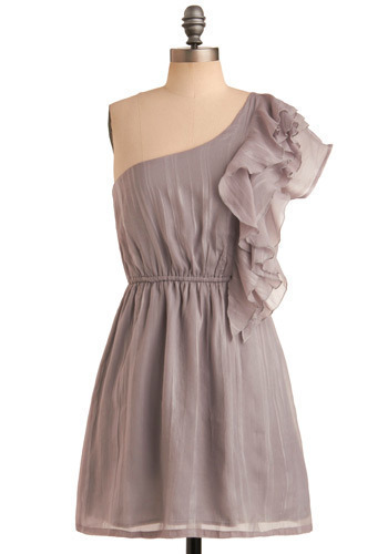 Fountain Fixture Dress - Grey, Solid, Ruffles, Special Occasion, Wedding, Party, A-line, One Shoulder, Mid-length