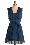 Terrarium Workshop Dress - Blue, Solid, Ruffles, Tiered, Casual, A-line, Sleeveless, Short