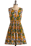 Paint the Roses Dress - Multi, Yellow, Green, Blue, Purple, White, Floral, Casual, A-line, Sleeveless, Spring, Summer, Mid-length