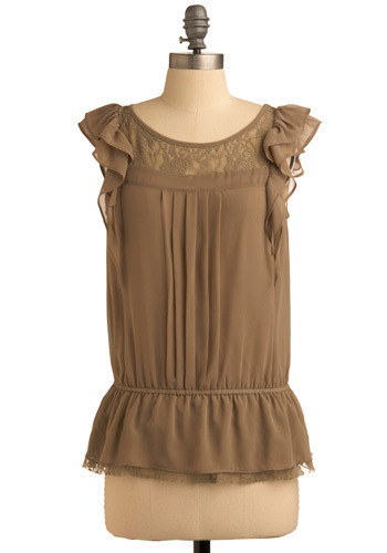 Olive My Life Top - Green, Solid, Lace, Pleats, Ruffles, Party, Casual, Cap Sleeves, Spring, Summer, Mid-length