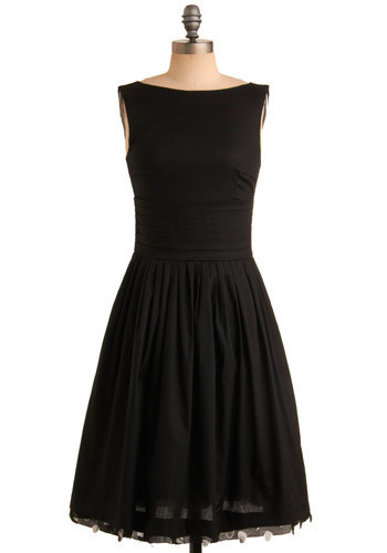 Subtly Sublime Dress - Black, Solid, Pleats, Trim, Formal, Prom, Wedding, Party, Luxe, A-line, Sleeveless, Long