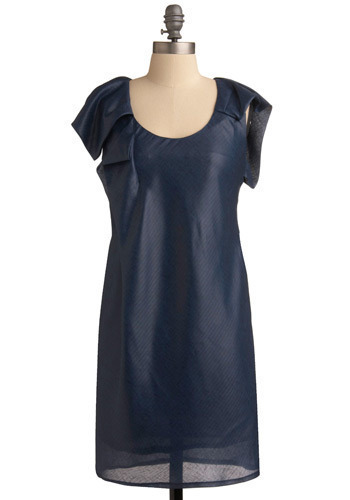Project Catwalk Dress - Blue, Solid, Pleats, Casual, Urban, Shift, Short Sleeves, Spring, Summer, Mid-length
