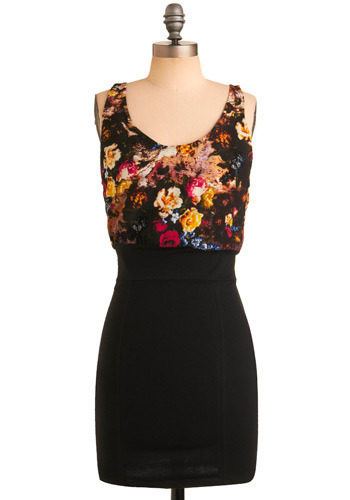 Bouquet Mirage Dress by Motel - Black, Red, Yellow, Blue, Floral, Party, Casual, Shift, Tank top (2 thick straps), Short