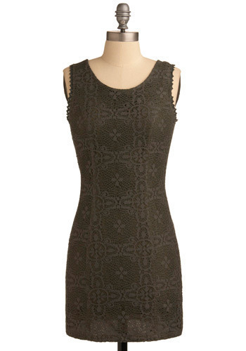 Very Rosemary Dress - Green, Solid, Cutout, Lace, Party, Casual, Sheath / Shift, Sleeveless, Short