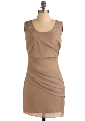 Taupe-lessly Devoted Dress - Tan, Solid, Pleats, Sheath / Shift, Sleeveless, Mid-length