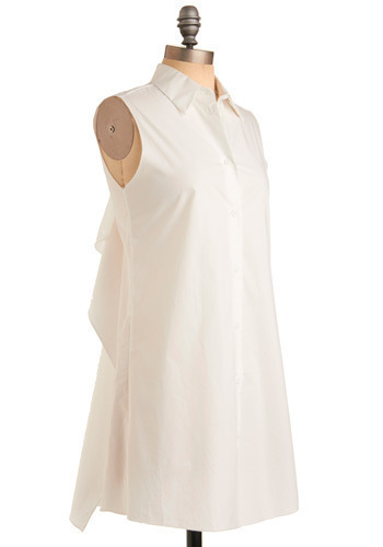Savant-Garde Tunic - White, Solid, Buttons, Cutout, Ruffles, Party, Casual, Sheath / Shift, Sleeveless, Spring, Summer, Long