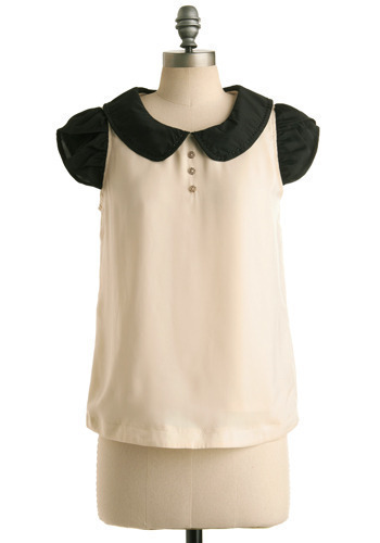 Pleasantly Precocious Top - Cream, Black, Beads, Buttons, Party, Work, Casual, Cap Sleeves, Spring, Summer, Mid-length