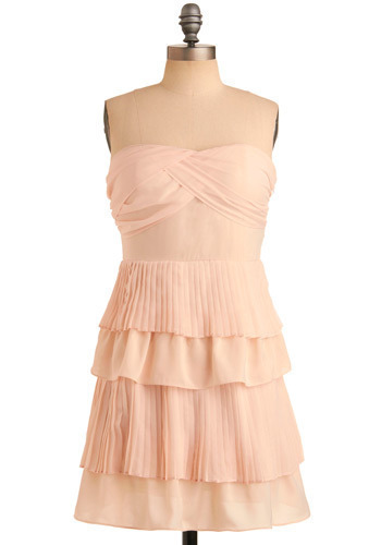 Replete With Pleats Dress - Pink, Solid, Pleats, Ruffles, Tiered, Special Occasion, Wedding, Party, A-line, Strapless, Mid-length