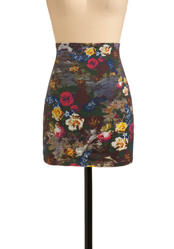 Bouquet Mirage Skirt by Motel - Multi, Yellow, Green, Blue, Pink, Brown, Grey, White, Floral, Casual, Mini, Sheath / Shift, Spring, Summer, Short