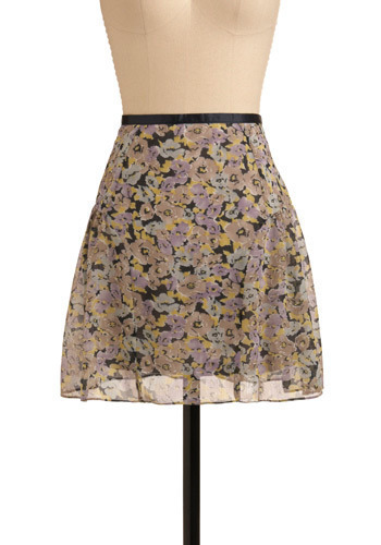 Impression Your Friends Skirt - Grey, Multi, Yellow, Green, Purple, Black, Floral, Casual, Spring, Summer, Short