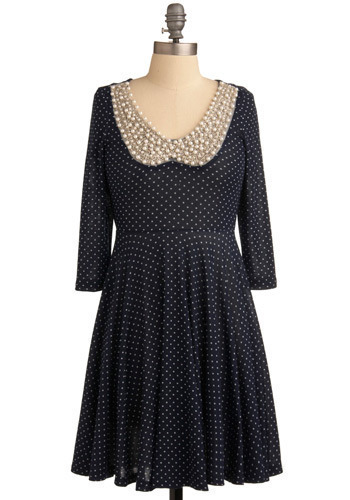 Pearl-i-gig Dress - Blue, White, Polka Dots, Pearls, Special Occasion, Party, A-line, 3/4 Sleeve, Mid-length
