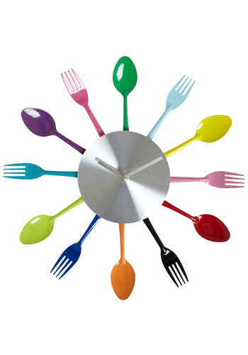Five After Flatware Clock - Multi, Red, Orange, Yellow, Green, Blue, Purple, Pink, Black, Silver, Dorm Decor