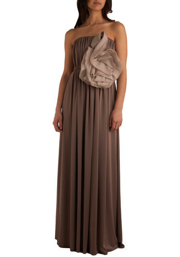 Statue-in-Waiting Dress - Brown, Grey, Solid, Flower, Special Occasion, Prom, Wedding, Party, Empire, Maxi, Long