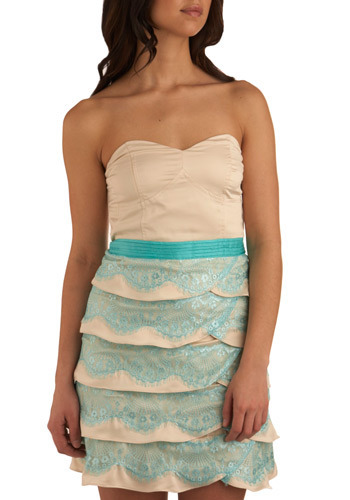 Sweet and Saltwater Dress - Blue, Cream, Lace, Tiered, Formal, Prom, Wedding, Party, Sheath / Shift, Strapless, Mid-length